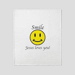 Smile Jesus Throw Blanket