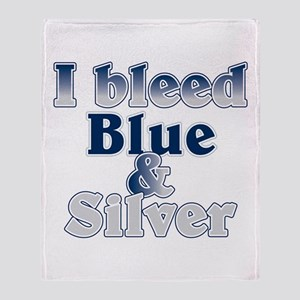 I Bleed Blue And Silver Throw Blanket