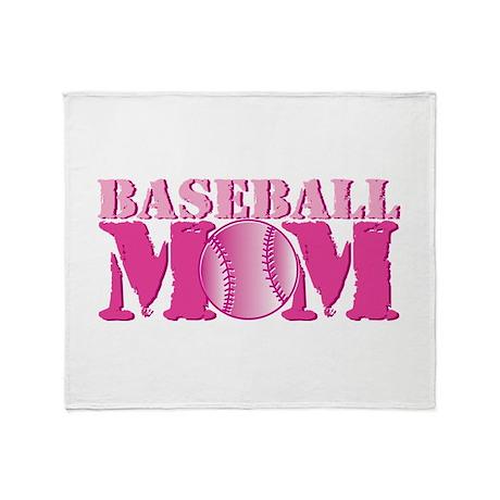 Baseball Mom pink Throw Blanket