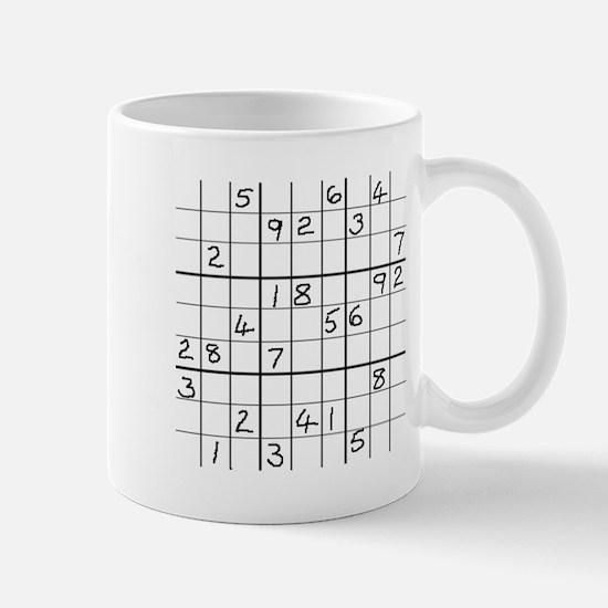 Mug featuring solvable advance level Sudoku puzzle