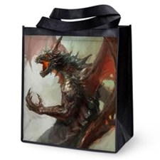 Gothic Dark Dragon Reusable Grocery Tote Bag