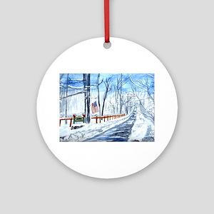 Fox Run in Winter Ornament (Round)