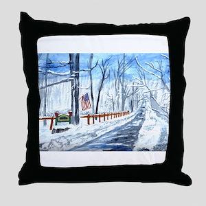 Fox Run in Winter Throw Pillow
