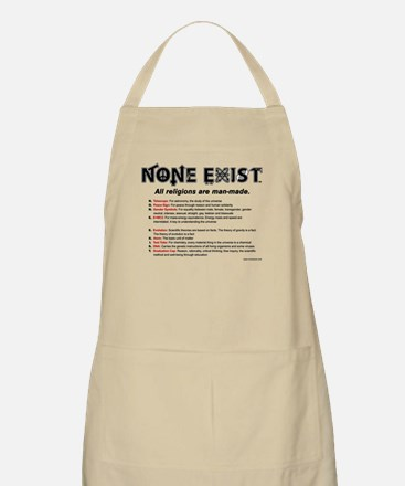 None Exist(TM) apron with tagline and explanation.