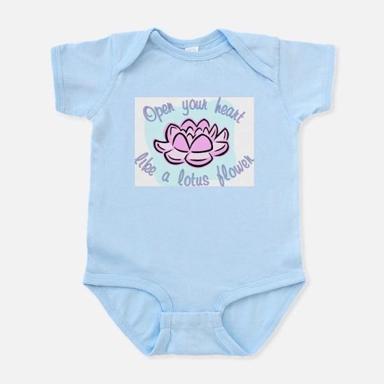 Open your heart like a lotus flower Infant Bodysui