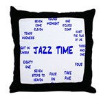 Jazz Time Blue Throw Pillow