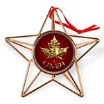 Gold Canada Maple Leaf Copper Star Ornament