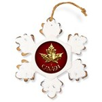 Gold Canada Maple Leaf Rustic Snowflake Ornament