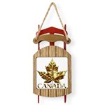 Gold Canada Maple Leaf Sled Ornament