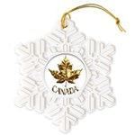 Gold Canada Maple Leaf Snowflake Ornament