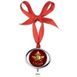 Gold Canada Maple Leaf Oval Year Ornament