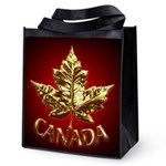 Gold Canada Maple Leaf Reusable Grocery Tote Bag