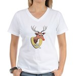 Naughty Reindeer Design Women's V-Neck T-Shirt