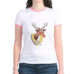 Naughty Reindeer Design Jr. Ringer T-Shirt