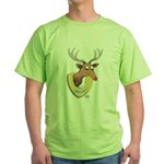 Naughty Reindeer Design Green T-Shirt