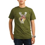 Naughty Reindeer Design Organic Men's T-Shirt (dar