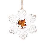 Canada Maple Leaf Souvenir Rustic Snowflake Orname
