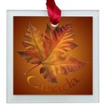 Canada Maple Leaf Souvenir Square Glass Ornament
