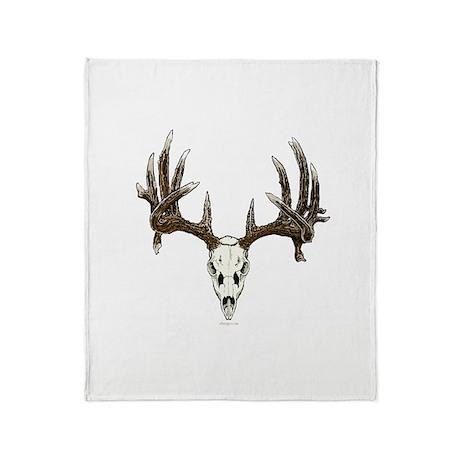 whitetail skull Throw Blanket