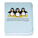 Burning Stare Penguins baby blanket