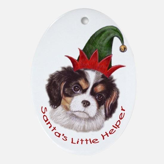 Santas Helper Cavalier Ornament (Oval)
