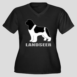 LANDSEER Women's Plus Size V-Neck Dark T-Shirt