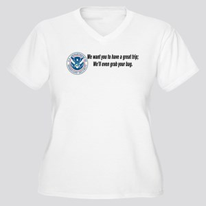 TSA...Grab your bag. Women's Plus Size V-Neck T-Sh