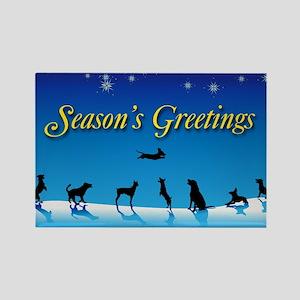 Doggy Season's Greetings Rectangle Magnet