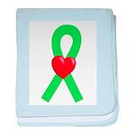 Lime Ribbon Heart baby blanket