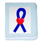 Blue Ribbon Heart baby blanket
