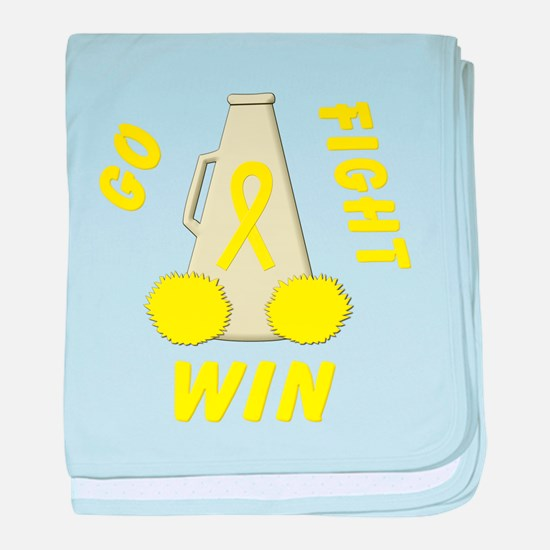 Yellow Go Fight Win baby blanket