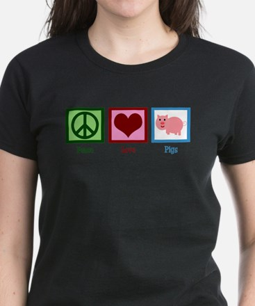 Peace Love Pigs Women's Dark T-Shirt