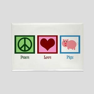 Peace Love Pigs Rectangle Magnet