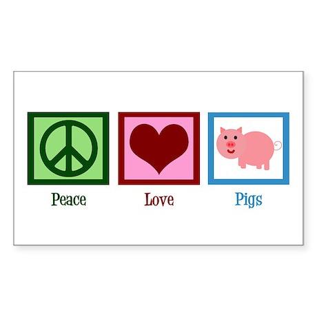 Peace Love Pigs Sticker (Rectangle)