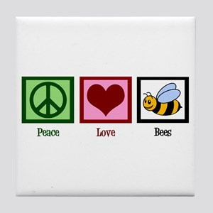 Peace Love Bees Tile Coaster