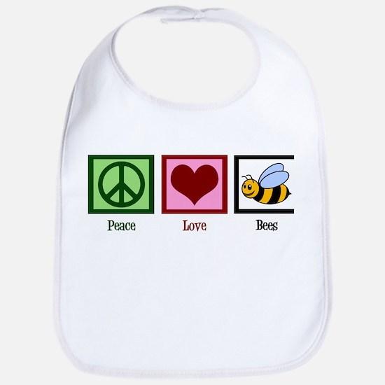 Peace Love Bees Bib