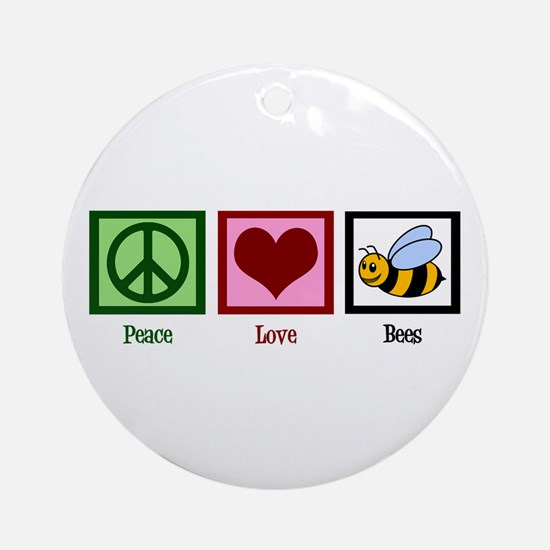 Peace Love Bees Ornament (Round)