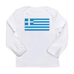 Greece Greek Blank Flag Long Sleeve Infant T-Shirt