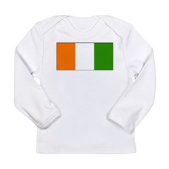 Ivory Coast Blank Flag Long Sleeve Infant T-Shirt