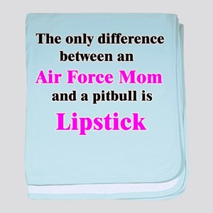 Air Force Mom Pitbull Lipstic baby blanket