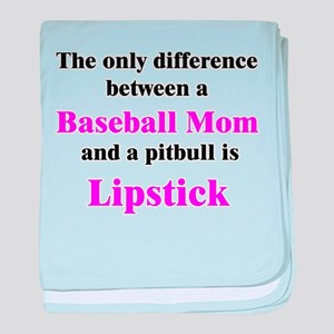 Baseball Mom Pitbull Lipstick baby blanket