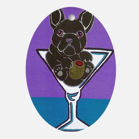 Black French Bulldog Oval Ornament