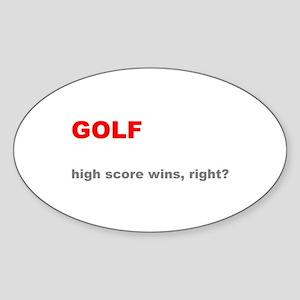 Golf High Score Wins, Right Sticker (Oval)