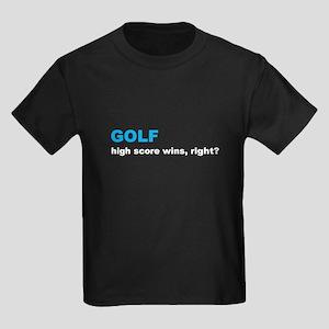 Golf High Score Wins, Right Kids Dark T-Shirt