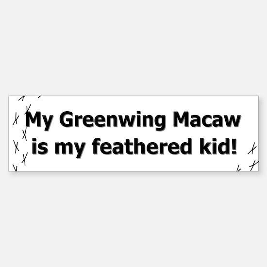 Greenwing Macaw Feathered Kid Bumper Bumper Bumper Sticker