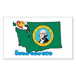 ILY Washington Sticker (Rectangle 50 pk)