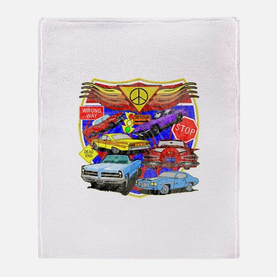 Classic Muscle Cars Throw Blanket