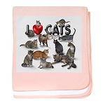 "baby blanket ""I Love Cats"""