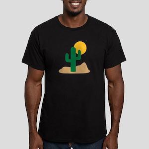Desert cactus Men's Fitted T-Shirt (dark)