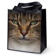 Tabby Cat Face Reusable Grocery Tote Bag